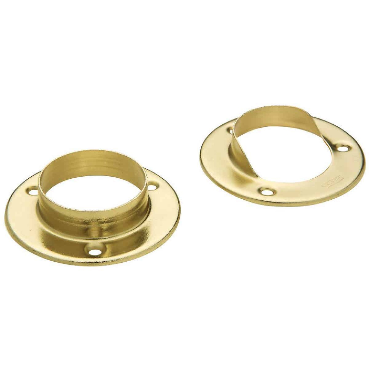 National 1-3/8 In. Steel Closet Rod Socket, Satin Brass (2-Pack) Image 1