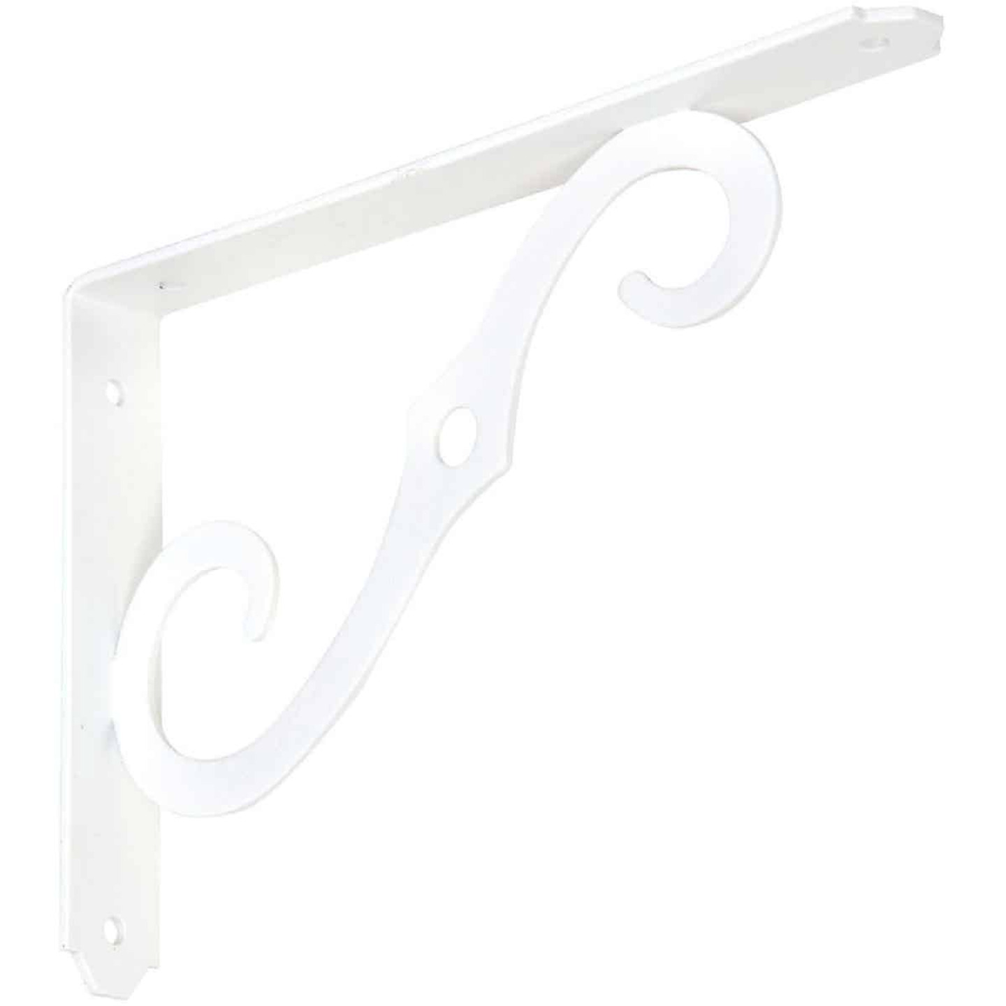 National 152 8 In. D. x 5-1/2 In. H. Antique White Steel Ornamental Shelf Bracket/Plant Hanger Image 1