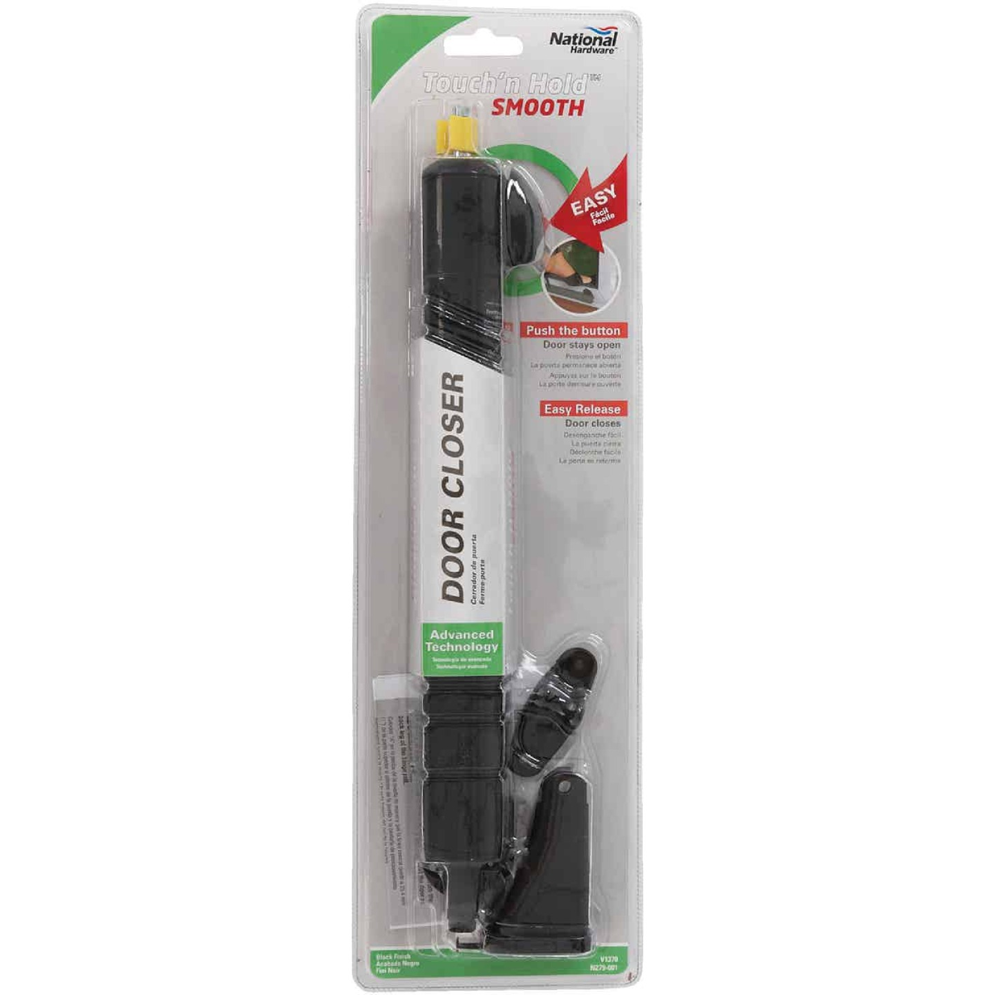 National Black Touch'N Hold Smooth Screen Door Closer Image 2